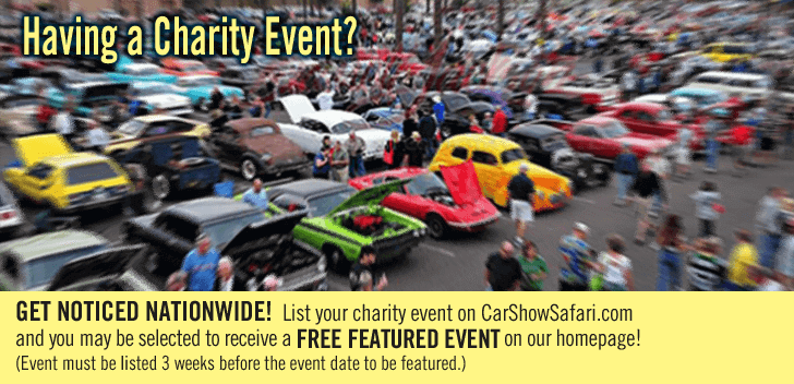 Having car shows or a charity event? List it on CarShowSafari.com with a free Featured Event Slide